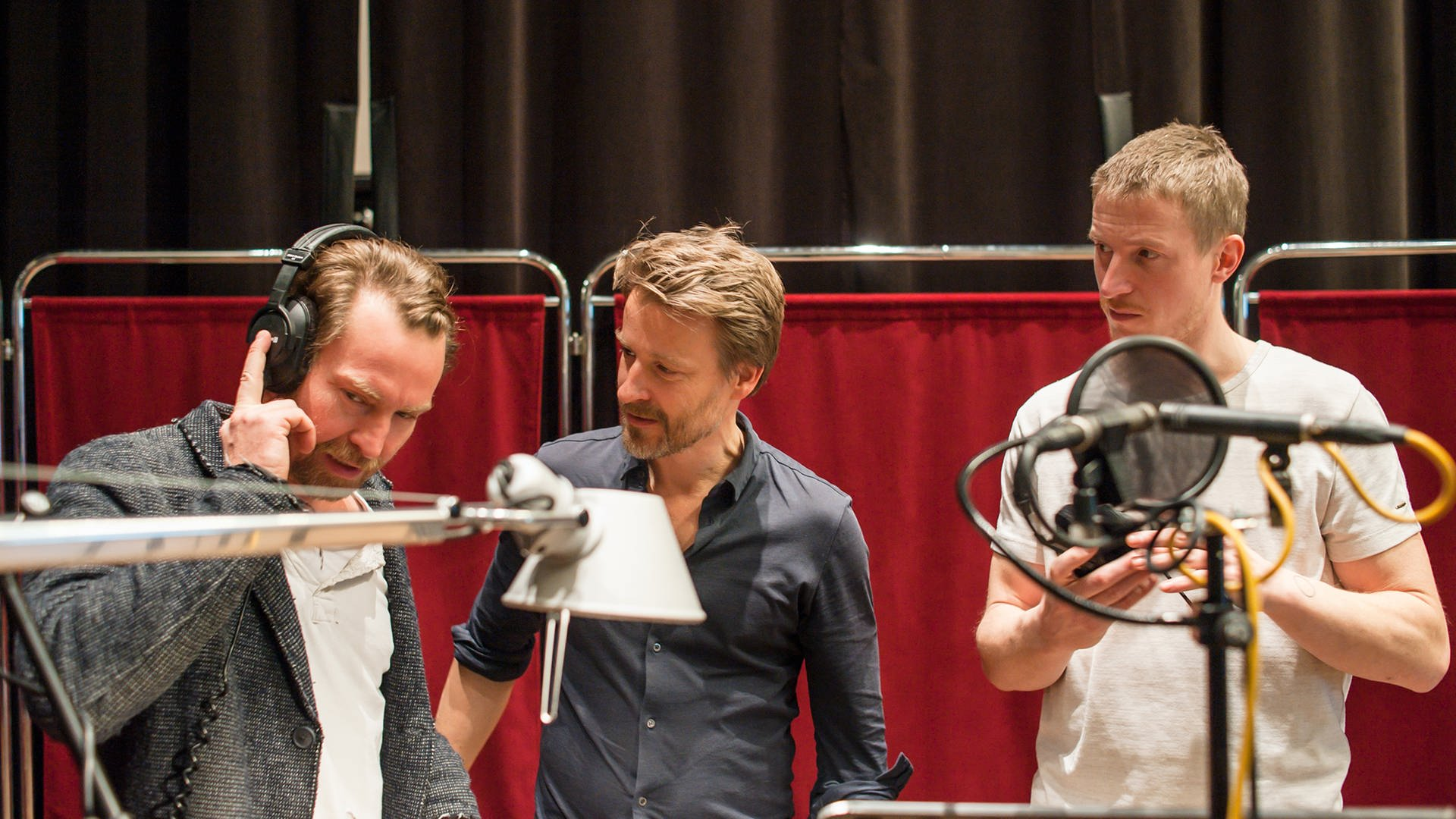 v.l.n.r. Manuel Harder, Max von Pufendorf und Golo Euler im Studio © Nirto Karsten Fischer / SWR